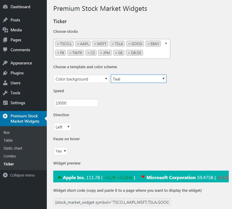 Google Finance Stock Market Quotes News: Premium Stock Market Widgets For WordPress By
