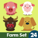Animals Set - 24 Farm and Village Icons - GraphicRiver Item for Sale