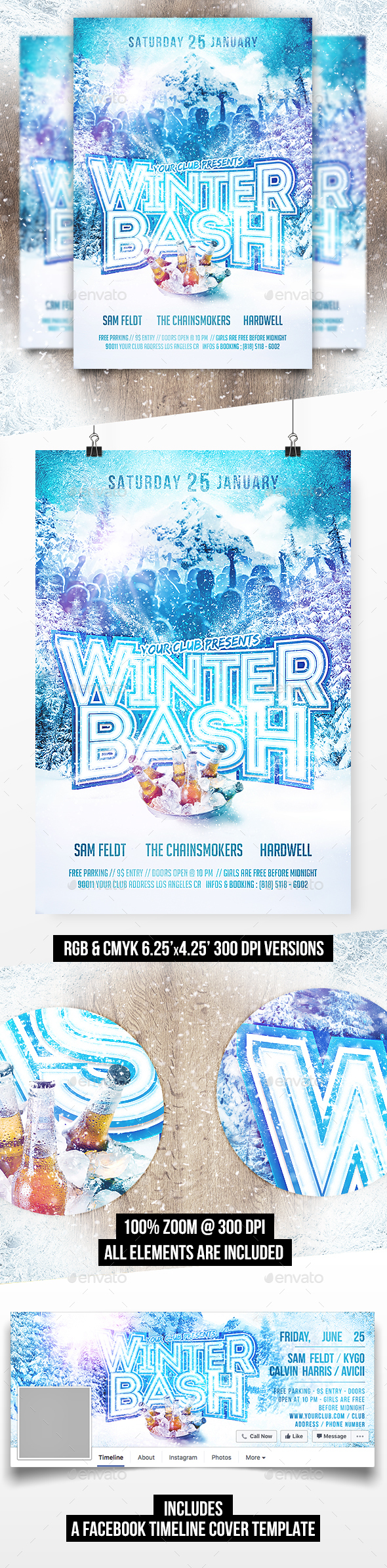 Winter Bash Party Flyer Template (+Facebook Timeline Cover) - Clubs & Parties Events