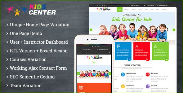 Kidcenter - Education Bootstrap Template - Nonprofit Site Templates