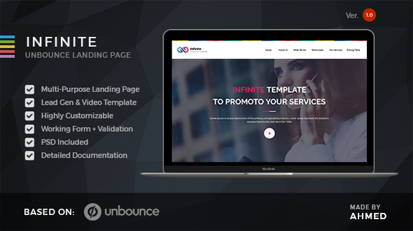 Infinite – Marketing Unbounce Template