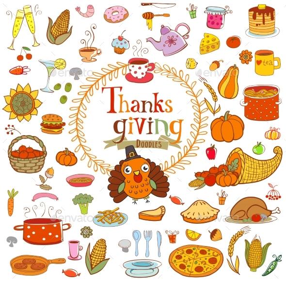 Thanksgiving Food Doodles - Decorative Symbols Decorative