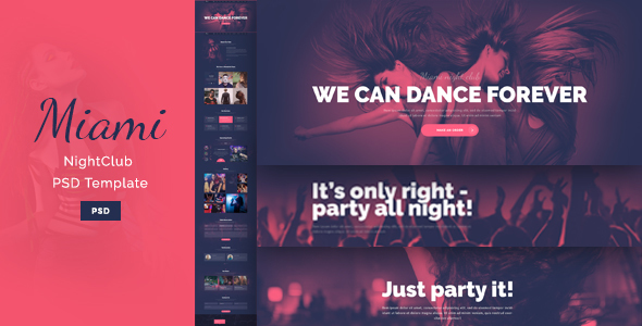 Miami – Stylish NightClub PSD Template