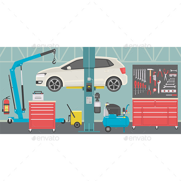 Interior of a Car Repair Shop - Services Commercial / Shopping
