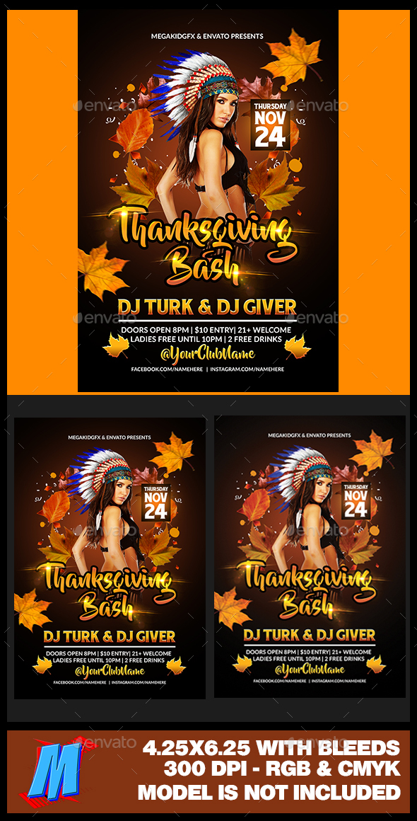 Thanksgiving Bash Flyer Template - Clubs & Parties Events