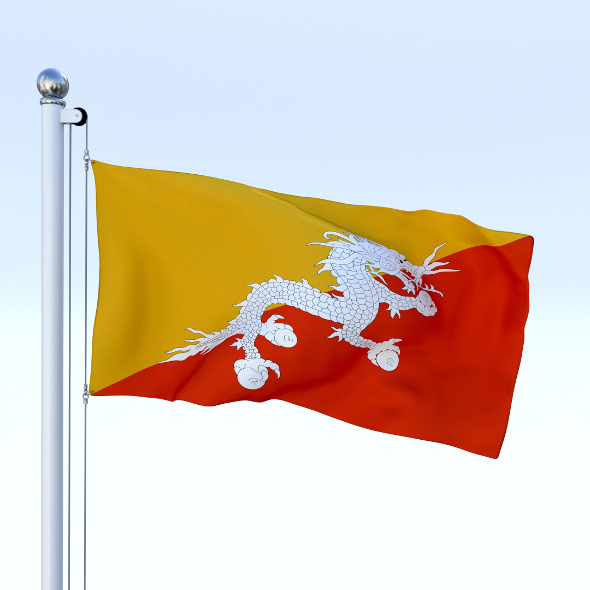 Animated Kingdom of Bhutan Flag - 3DOcean Item for Sale