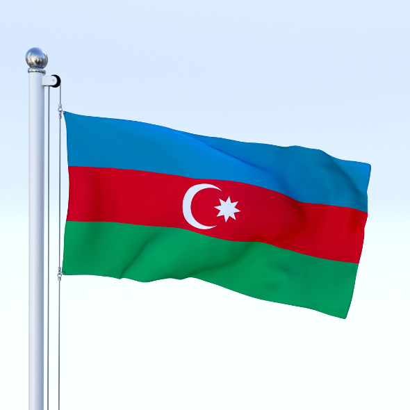 Animated Azerbaijan Flag - 3DOcean Item for Sale