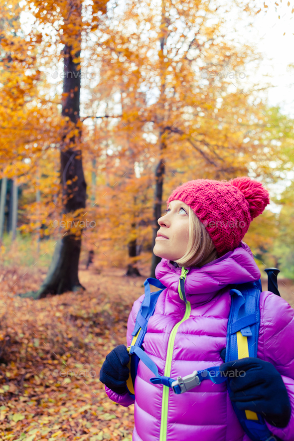 Hiking woman with backpack looking up at inspiring autumn trees - Stock Photo - Images