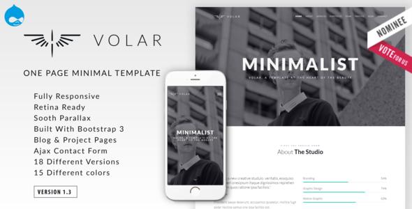 Volar | One Page Minimal Parallax Drupal Theme - Portfolio Creative
