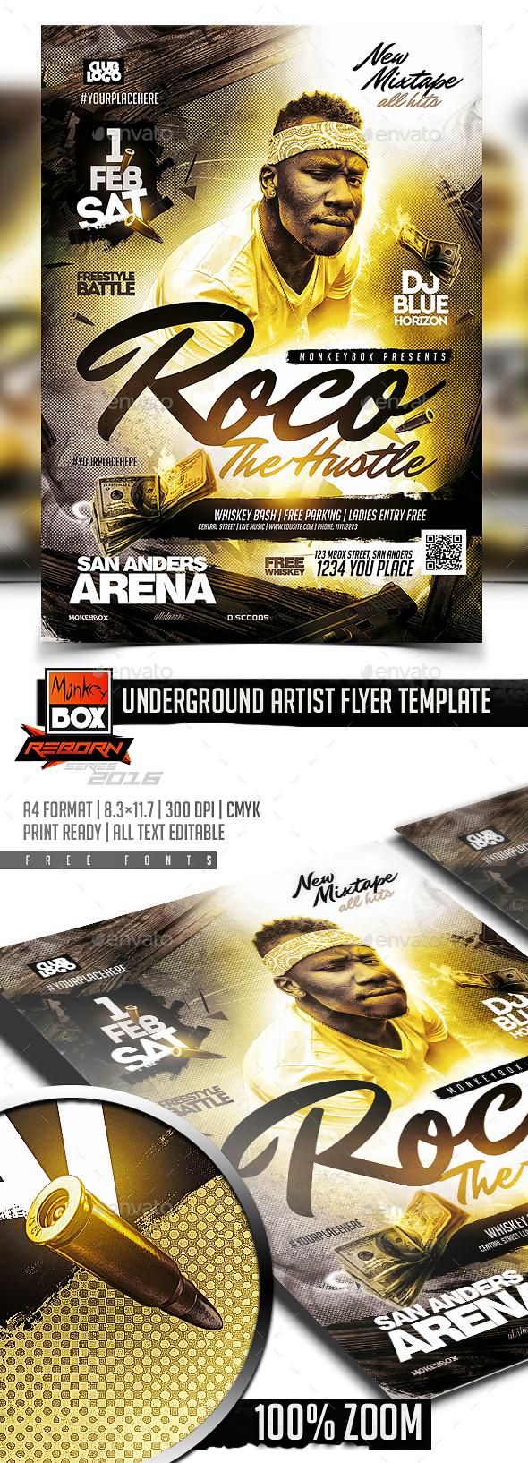 Underground Artist Flyer Template - Flyers Print Templates