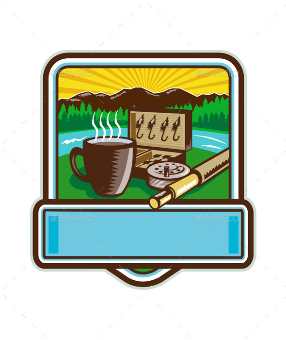Fishing and Coffee Crest Woodcut - Sports/Activity Conceptual