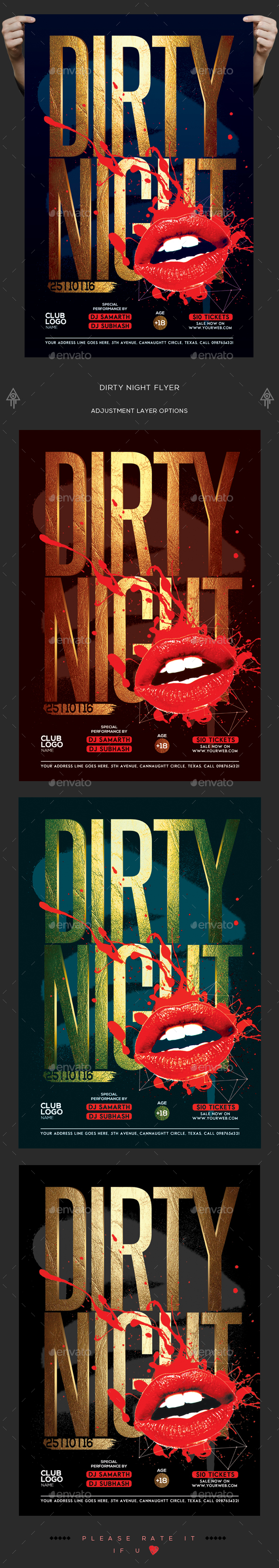 Dirty Night Flyer - Clubs & Parties Events