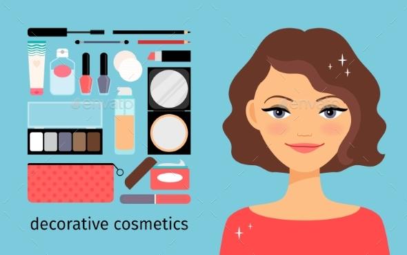 Decorative Cosmetics With Beautiful Girl - Miscellaneous Conceptual