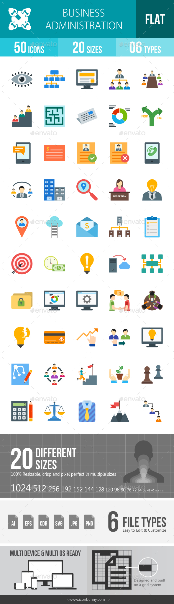 Business Administration Flat Multicolor Icons - Icons