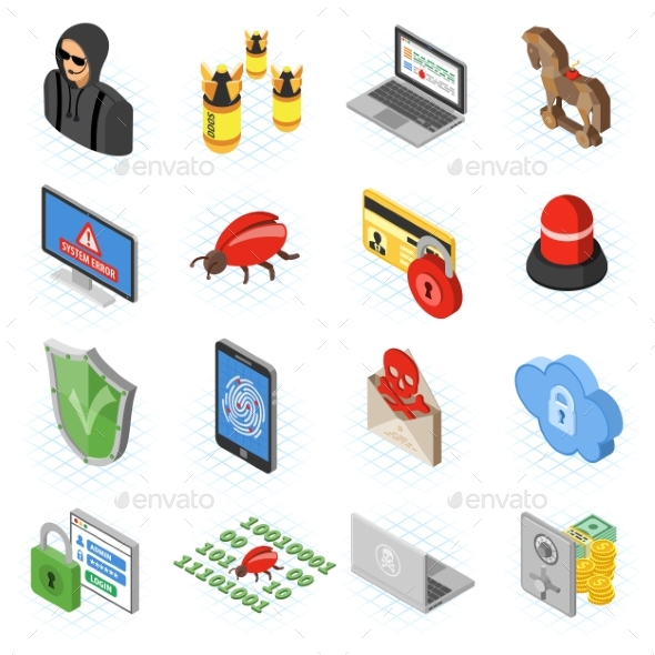 Internet Security Isometric Flat Icon Set - Computers Technology