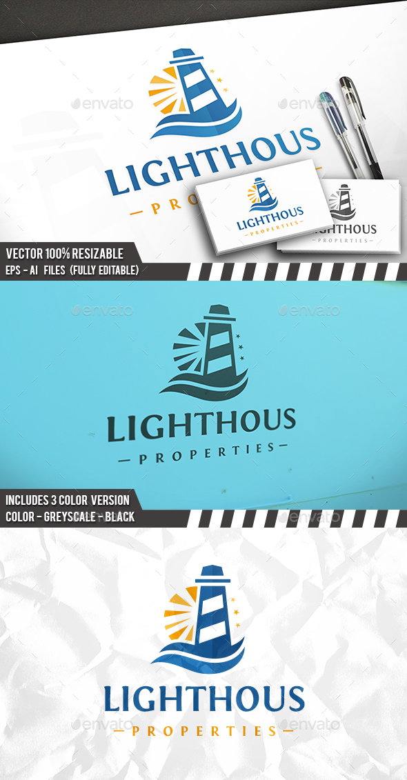 Lighthouse Sun Logo - Buildings Logo Templates