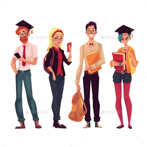 Group Of College, University Students With Books - People Characters