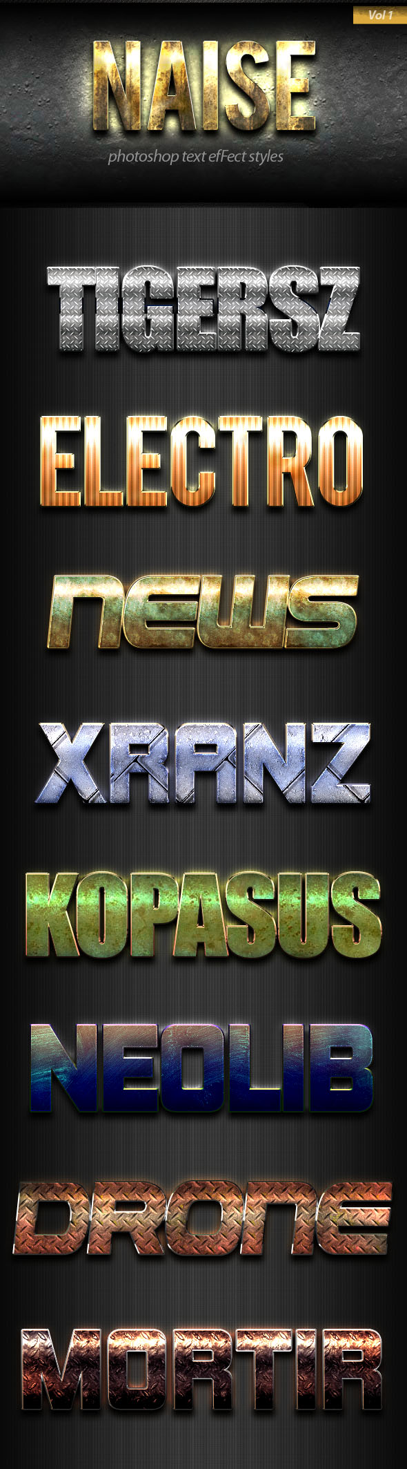 Naise Photoshop Text Effect Styles Vol 1 - Text Effects Styles