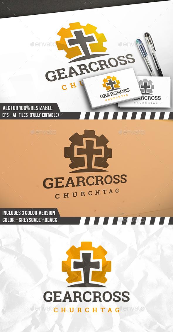 Cross Gear Logo - Objects Logo Templates
