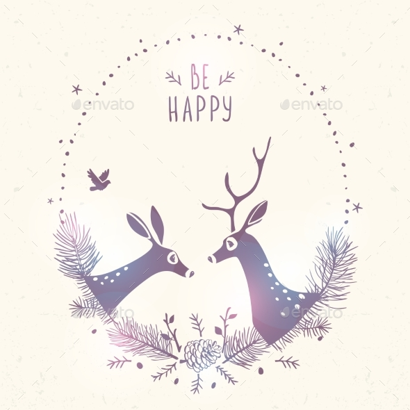 Deer New Year Frame by JulianArt   GraphicRiver