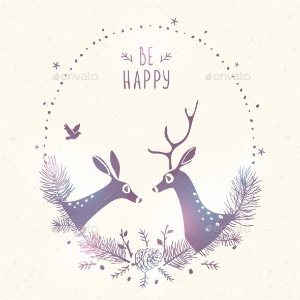 Deer New Year Frame - Christmas Seasons/Holidays