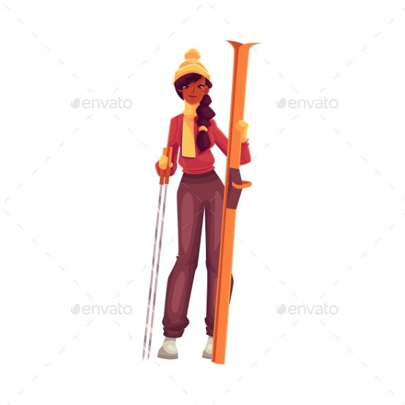 Young Black Woman With Ski And Poles - People Characters