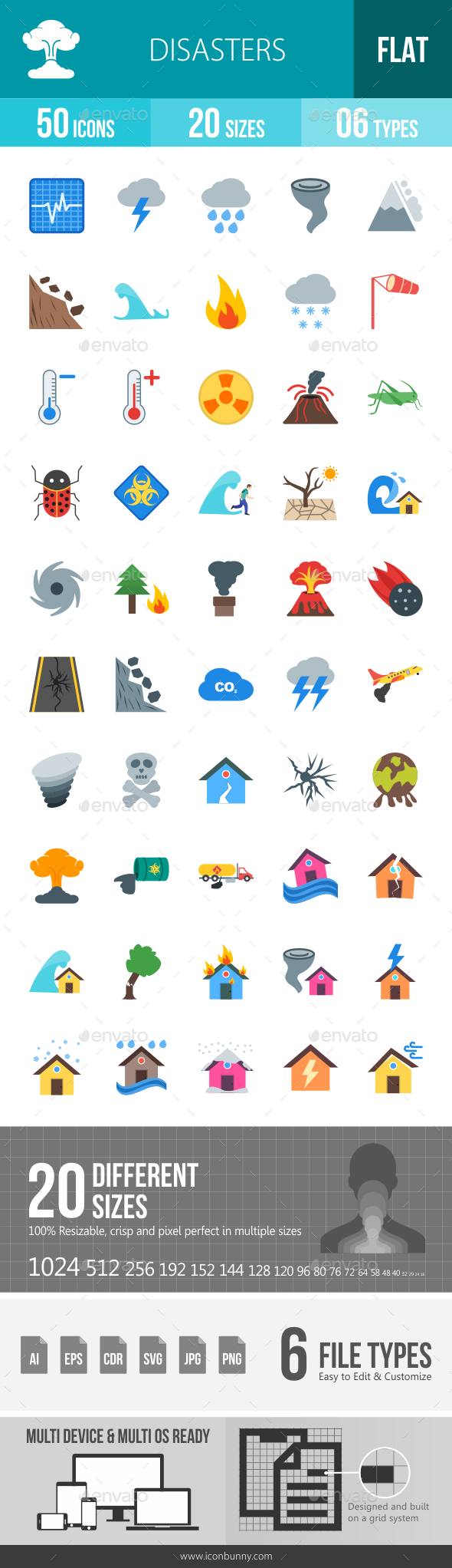 Disasters Flat Multicolor Icons - Icons