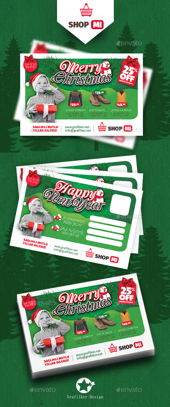Christmas Shopping Postcard Templates - Cards & Invites Print Templates