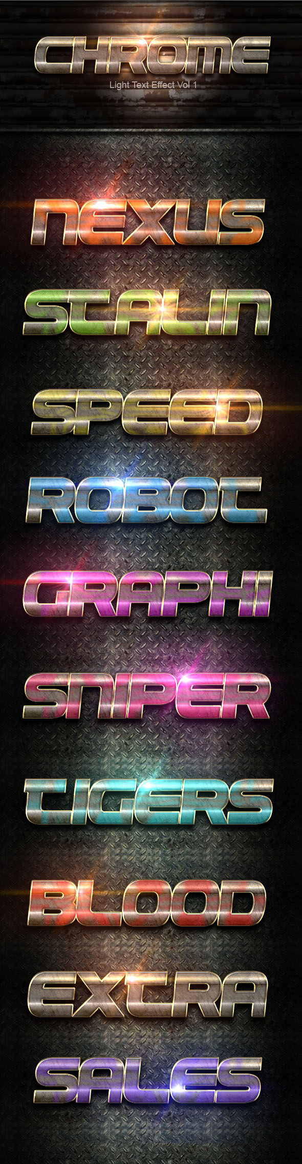 Chrome Light text Effect Vol 1 - Text Effects Styles