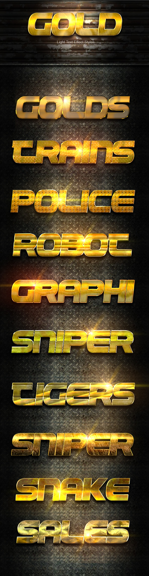 Gold Light text Effect - Text Effects Styles