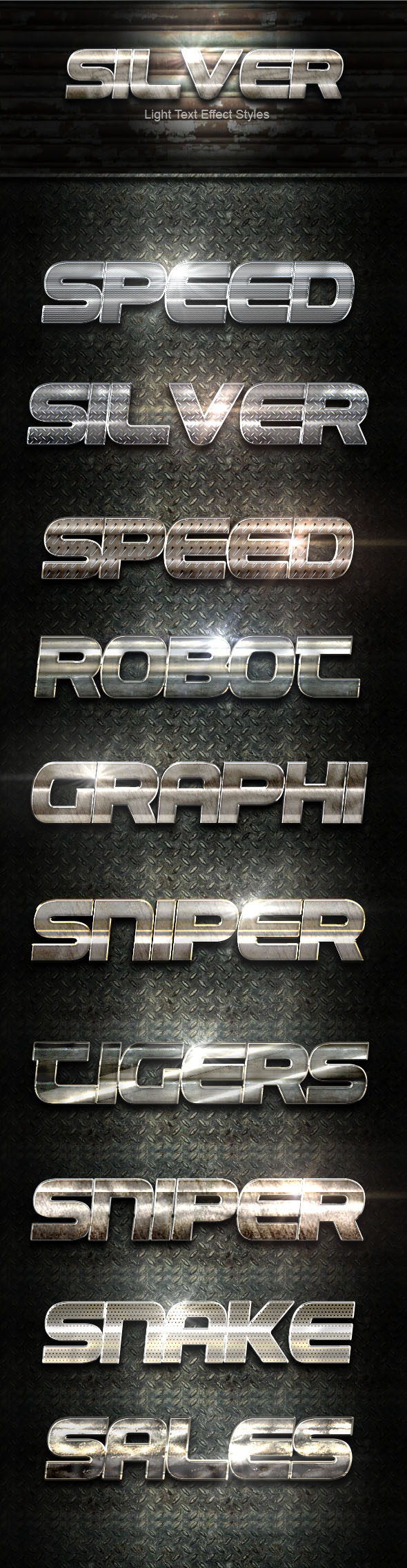 Silver Light Text Effect - Text Effects Styles
