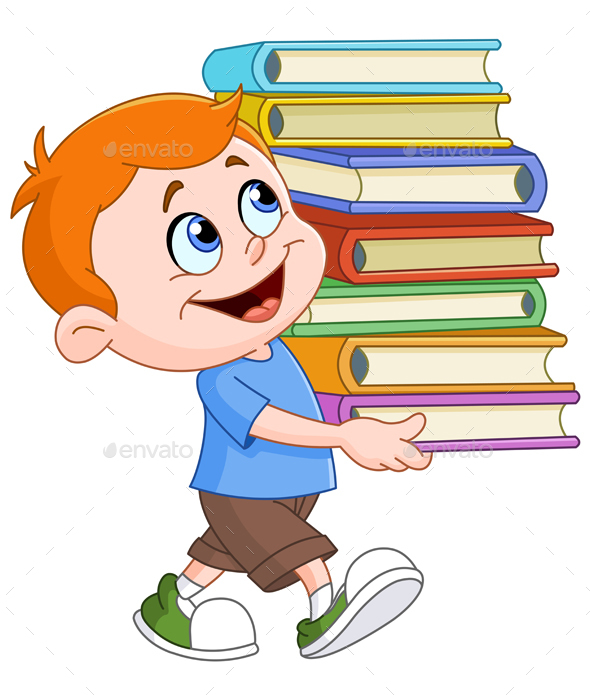 Boy Carrying Books - People Characters