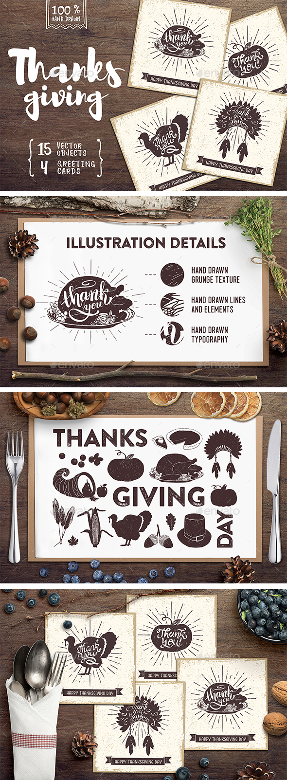 Thanksgiving. 15 Hand Drawn Objects and 4 Greeting Cards