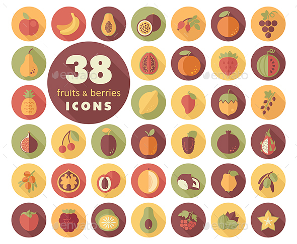 Set of Fruits and Berries icons - Food Objects