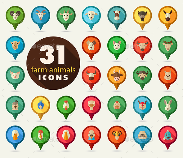 Farm animals flat pin map icon set. Vector head - Animals Characters