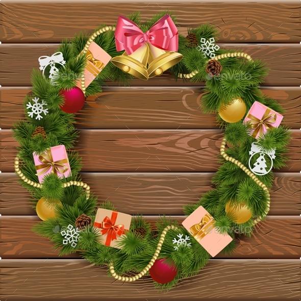 Vector Christmas Wreath on Wooden Board 8 - Christmas Seasons/Holidays