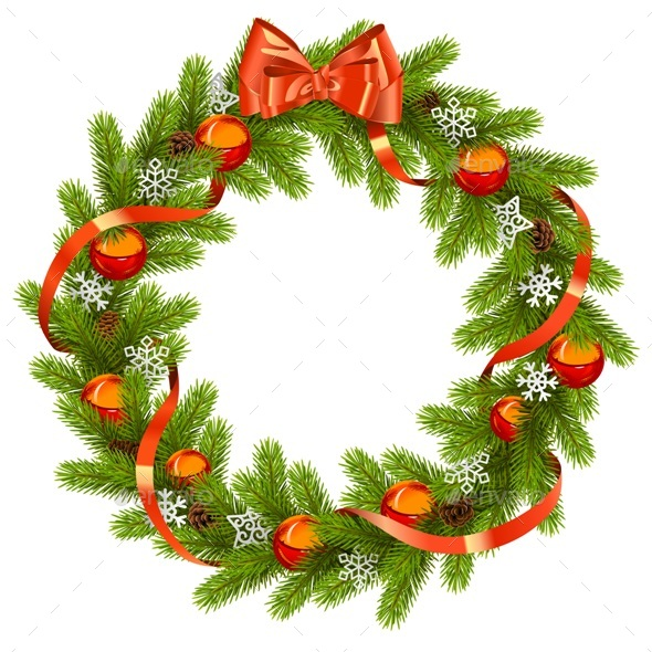 Vector Fir Wreath with Red Decorations - Christmas Seasons/Holidays