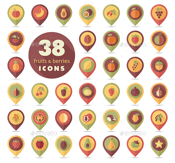 Set of Fruits and Berries pin map icon - Food Objects
