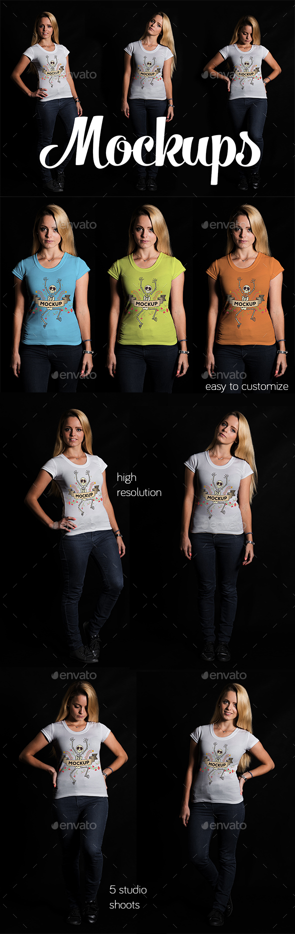 5 Female T-shirt Mockups - T-shirts Apparel
