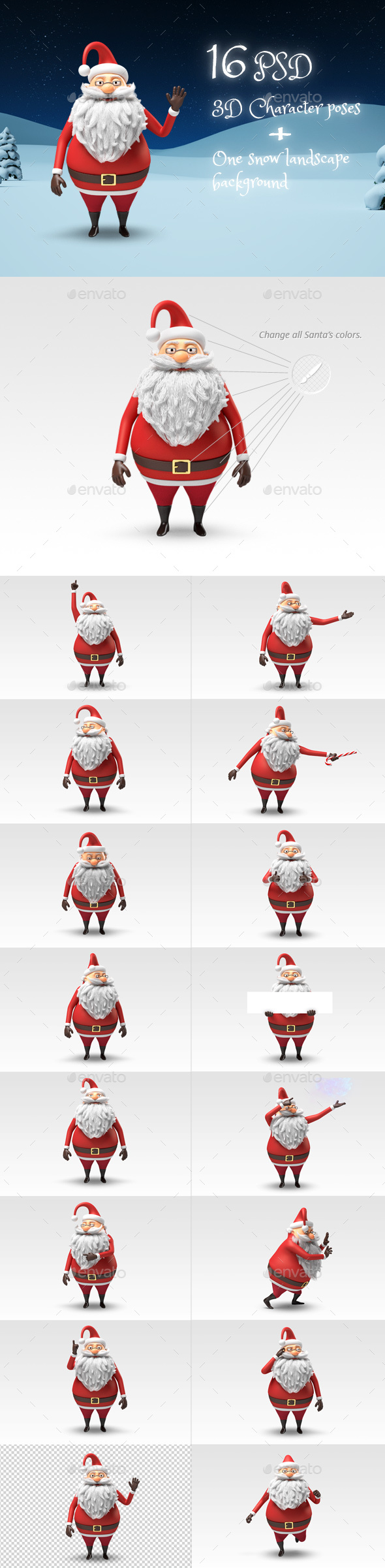 santa christmas 3d character stills by flasheasy graphicriver