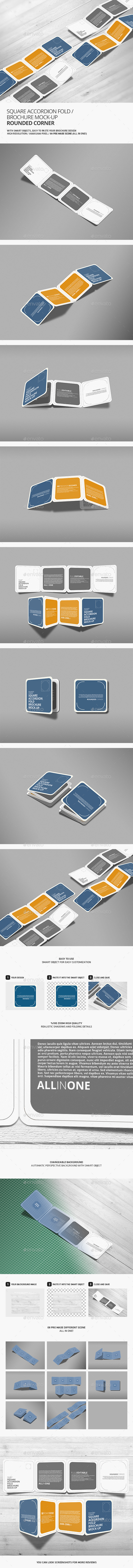 Square Accordion Fold Brochure Mock-Up - Rounded Corner - Product Mock-Ups Graphics