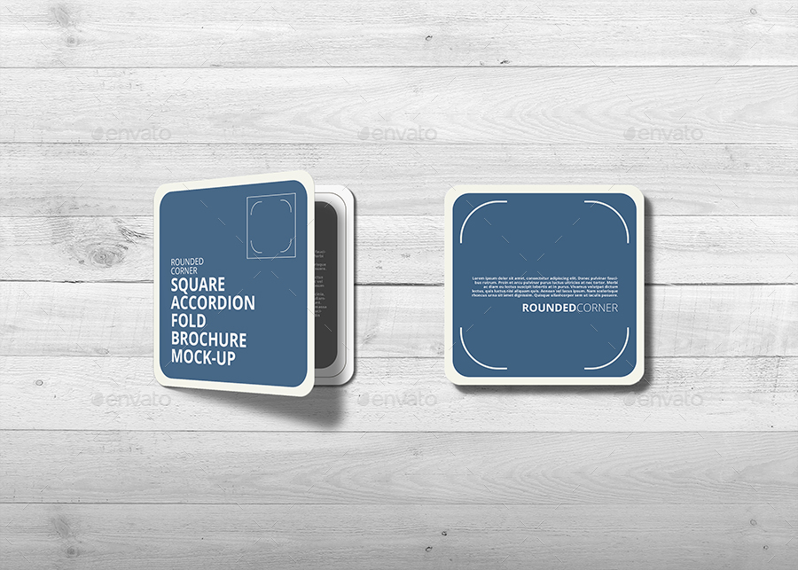 Square Accordion Fold Brochure Mock Up Rounded Corner By Trgyon