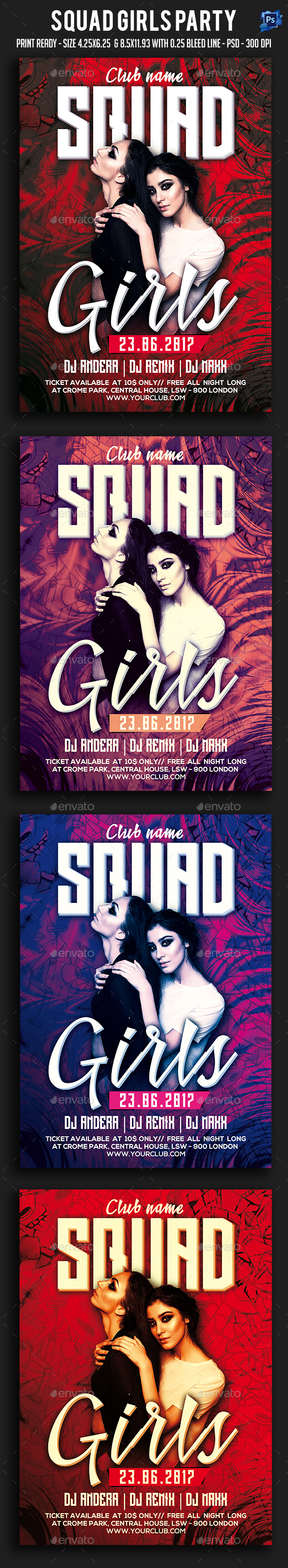 Squad Girls Party Flyer - Clubs & Parties Events