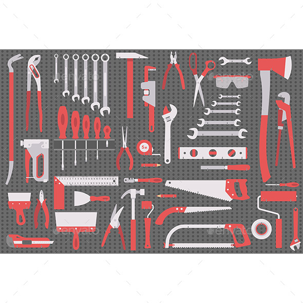 Wall with Tools - Man-made Objects Objects