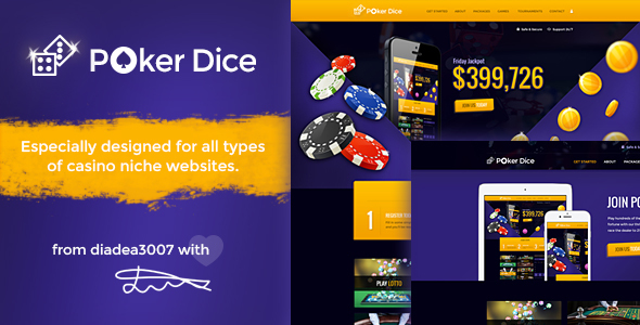 Poker Dice - Casino PSD Template - Creative PSD Templates