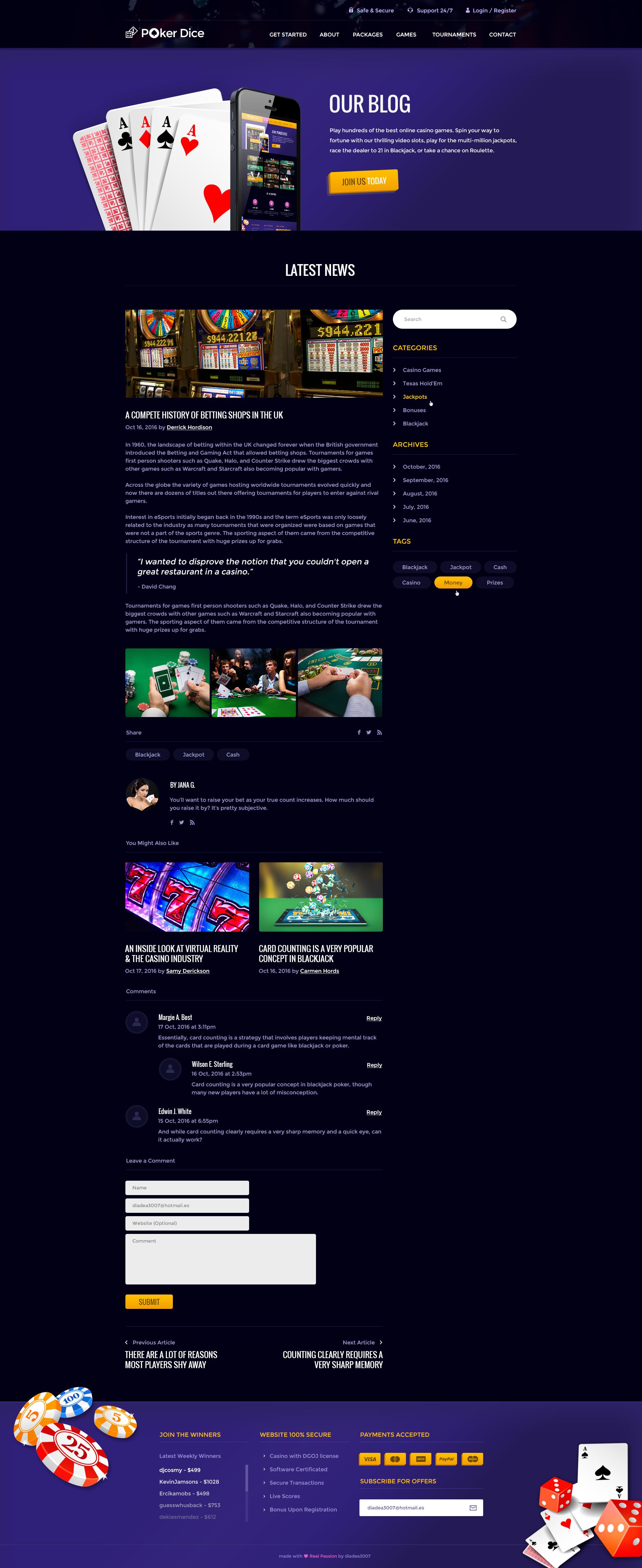 casino blogger template