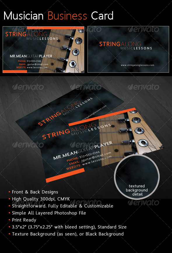 Musician Business Card - Industry Specific Business Cards