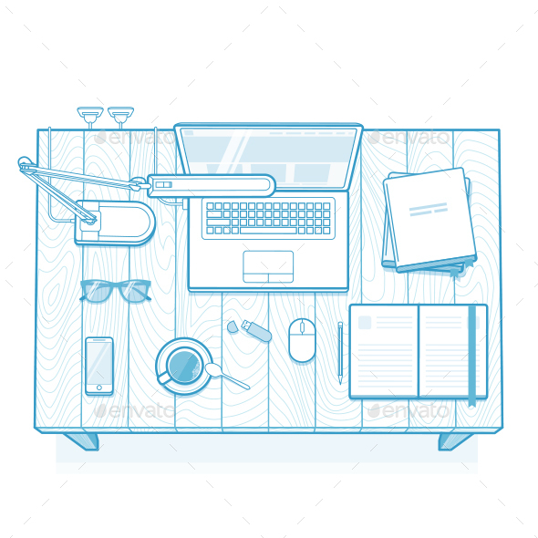 Office Work Desk - Computers Technology