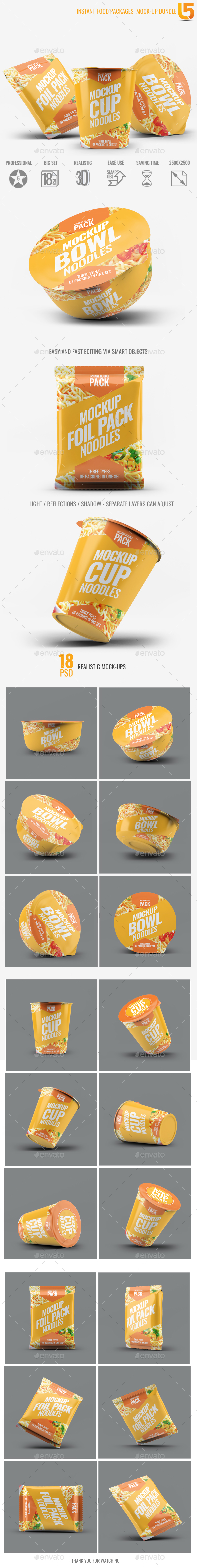 Instant Food Packages Mock-Up Bundle - Food and Drink Packaging