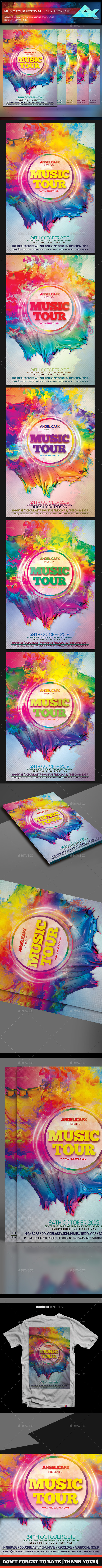 Music Tour Festival Flyer Template - Flyers Print Templates